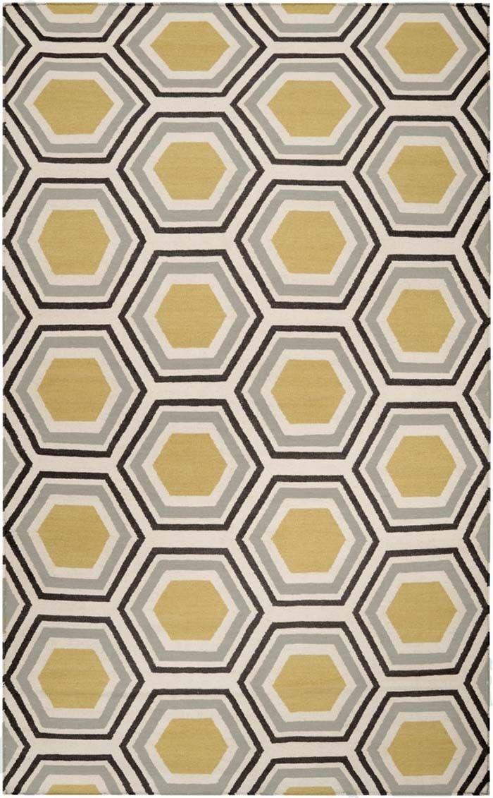 Multi Colored Hexagon Pattern Rug By Jill Rosenwald Black Area