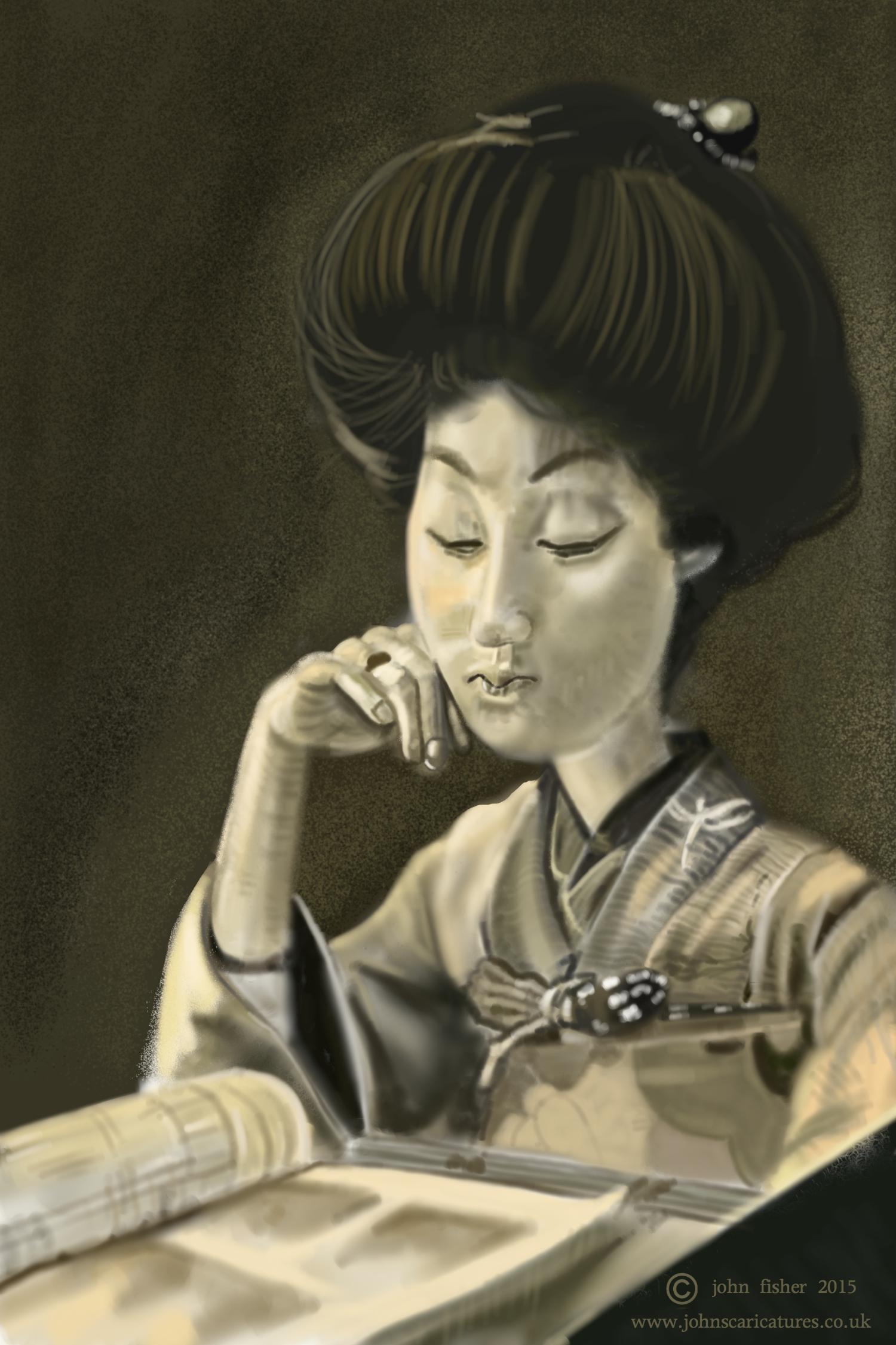 Geisha Sakae In A Dragonfly Kimono1910s