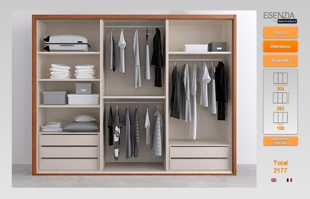 Amplio armario tres puertas correderas combinado en color - Distribuciones de armarios ...