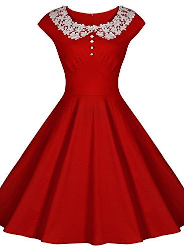 Miusol Damen Sommerkleid Rockabilly Business Retro 50er Jahr Stil ...