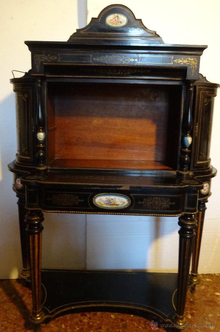 Mueble secreter estilo boulle en madera caoba secreter for Estilos de muebles antiguos