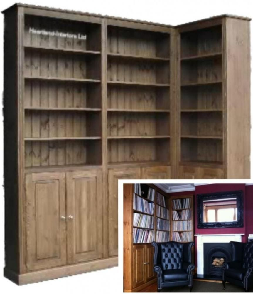 Solid Pine Corner Bookcase 8ft Tall Handcrafted Waxed Display