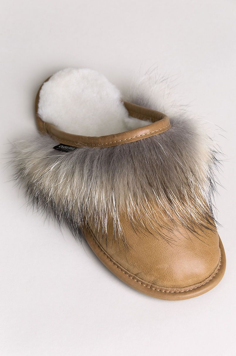 9d7442dec6d Women s Camilla Shearling-Lined Brazilian Leather Scuff Slippers with  Coyote Fur Trim