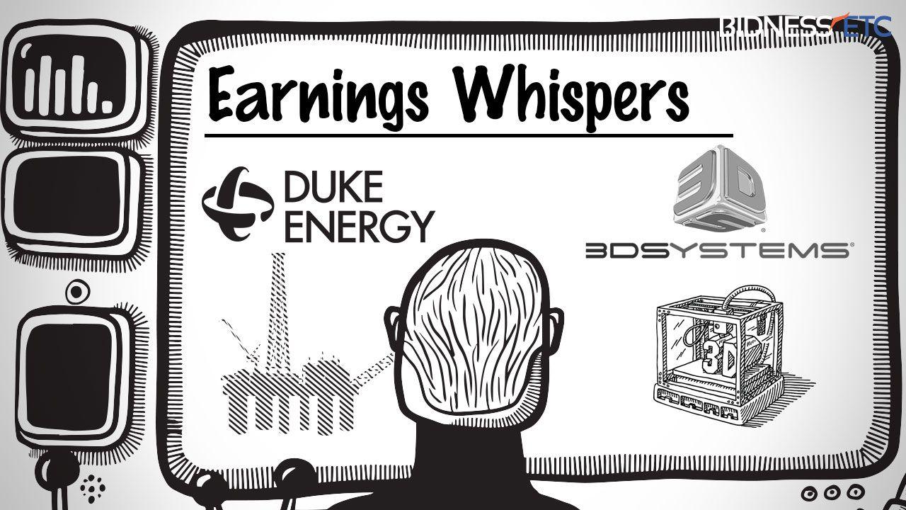 Earnings whispers duke energy corp duk 3d systems