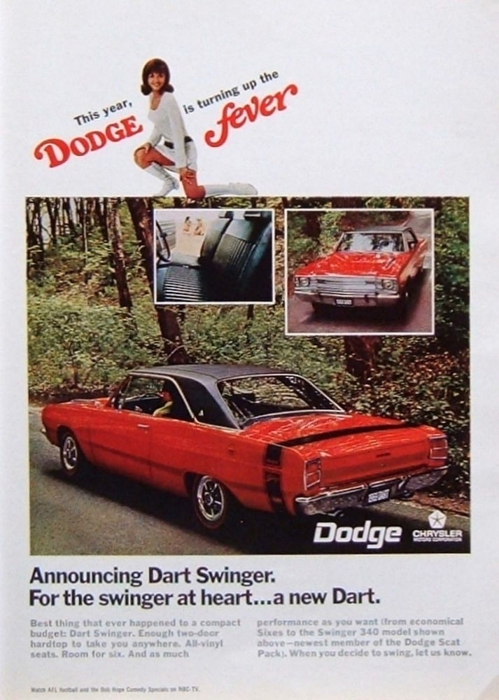 1968 PRINT AD: \'69 Dodge Dart Swinger \