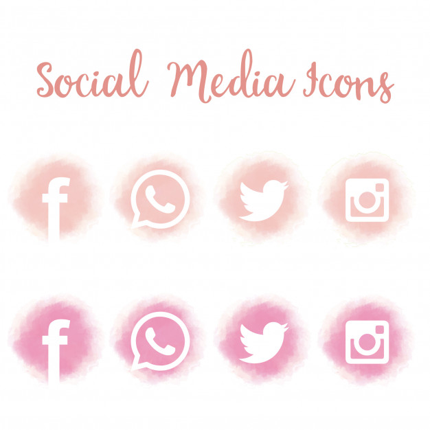 Download Pretty Social Media Icons In Watercolor for free