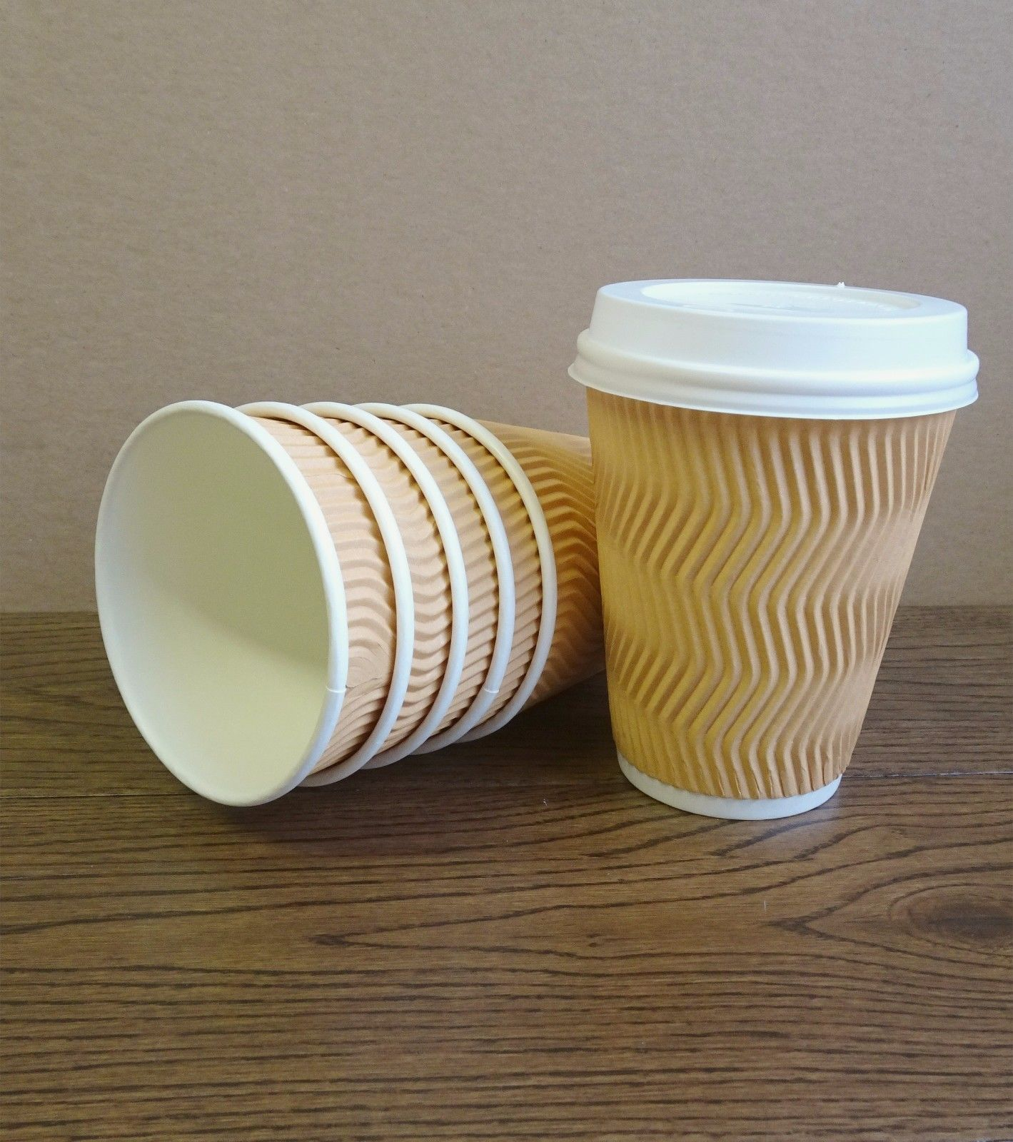 8oz 12oz Coffee Paper Cups Disposable Ripple Wall For Cold Hot