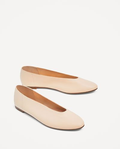 7a93bdfc1a6 V-CUT LEATHER BALLERINAS-Flats-SHOES-WOMAN | ZARA United States ...