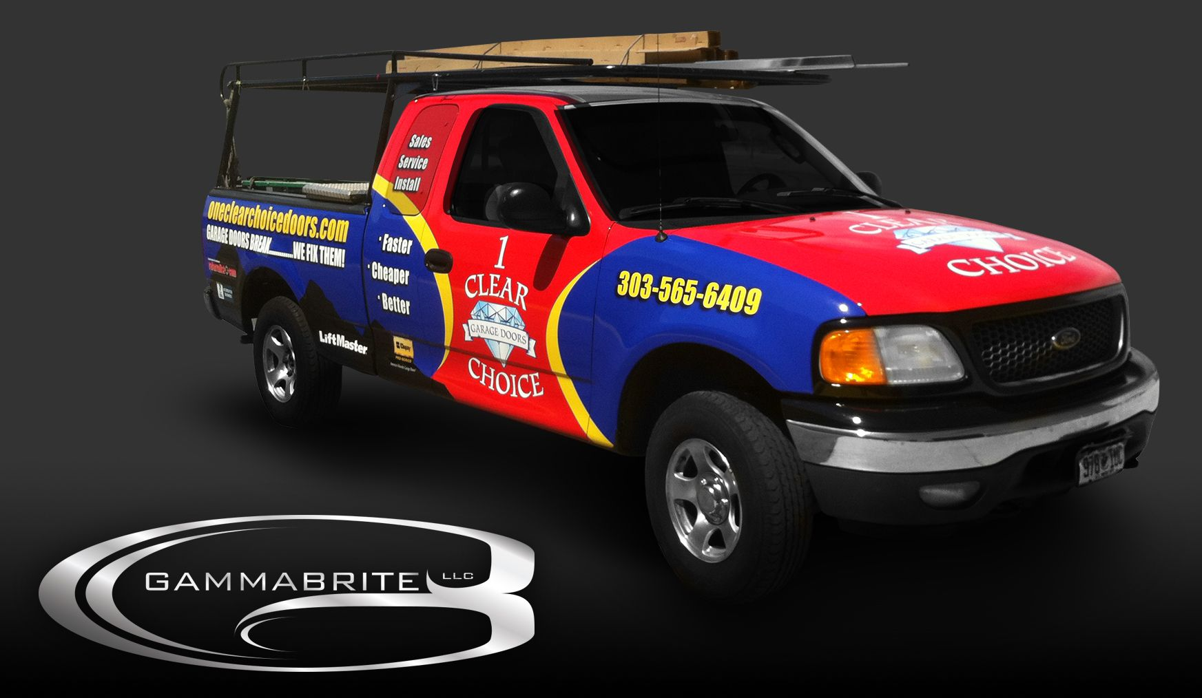One clear choice garage doors vehicle wrap by gammabrite for Garage wraps