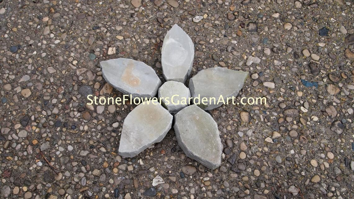 Stone Flowers Garden Art Hand Chipped Sandstone Flower