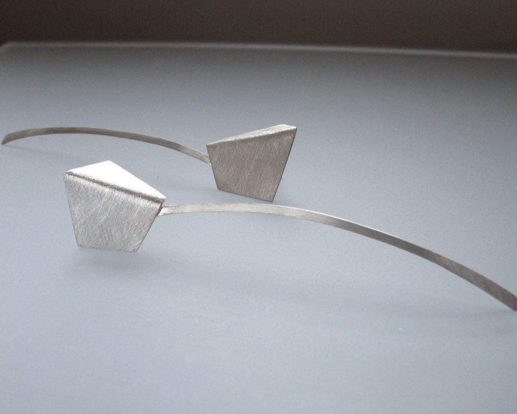 QuercusSilver - Swing - Long Geometric Silver Earrings - Kinetic Jewellery