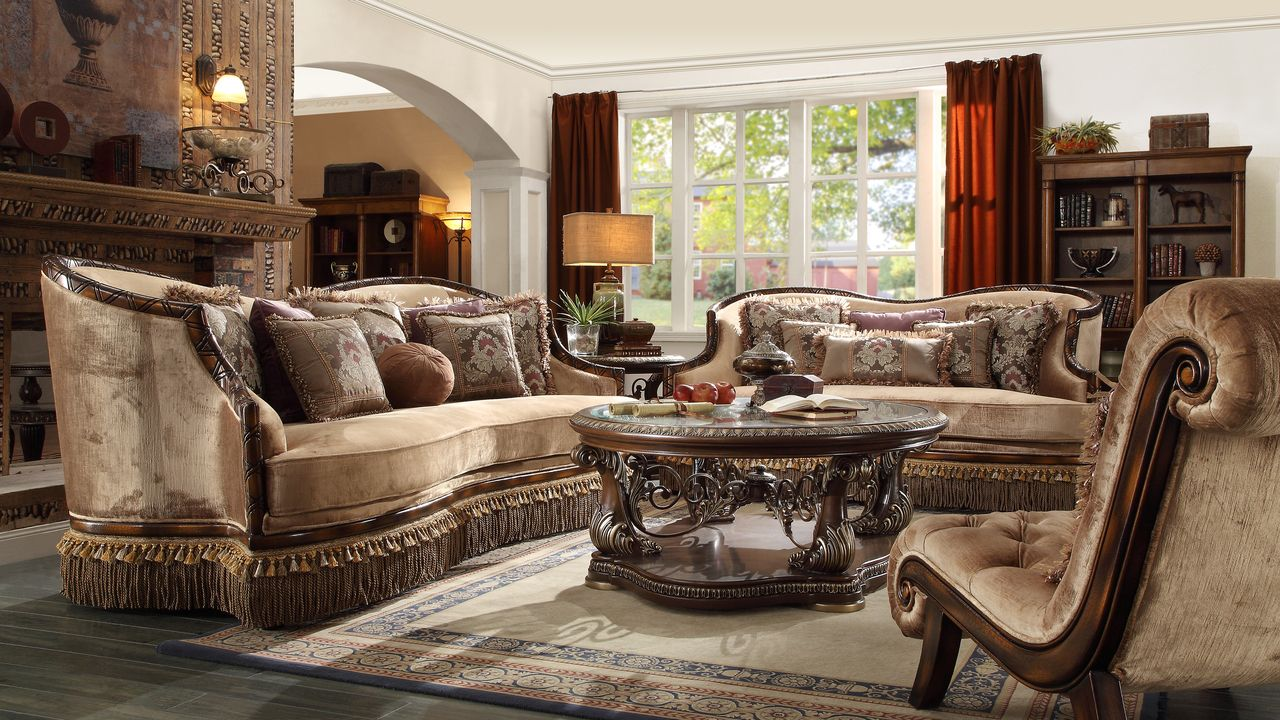 hd 1631 homey design upholstery living room set victorian european classic design 3 pcs - Homey Design Upholstered
