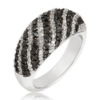 $139.99 - 1 Carat Black and White Diamond and Sterling Silver Stripe Design Ring
