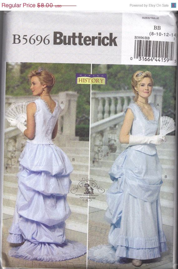 ON Sale Historical Costume Bustle Skirt Corset Top Butterick 5696 Sewing Pattern Halloween Size 8 10 12 14  Bust 31.5 34  36