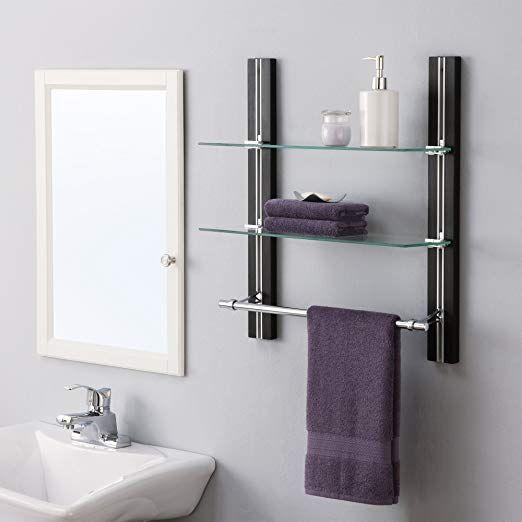 Organize It All Wall Mount 2 Tier Bathroom Glass Shelf with Towel