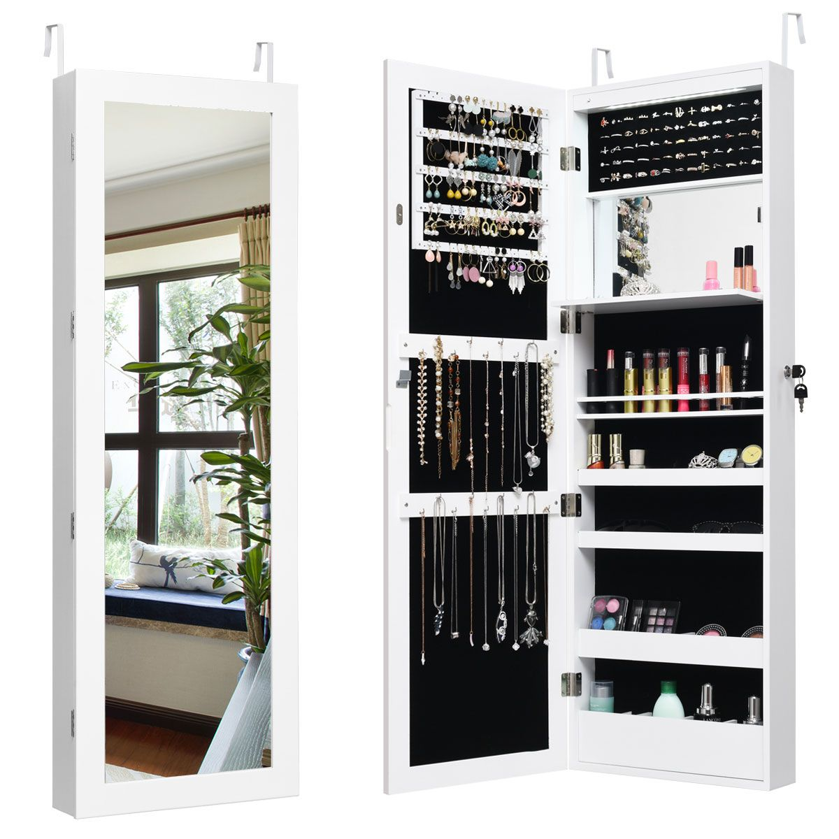 Costway Lockable Wall Door Mounted Mirror Jewelry Cabinet Armoire Organizer W Led Lights Walmart Com In 2020 Wall Mounted Jewelry Armoire Mirror Jewellery Cabinet Jewelry Mirror