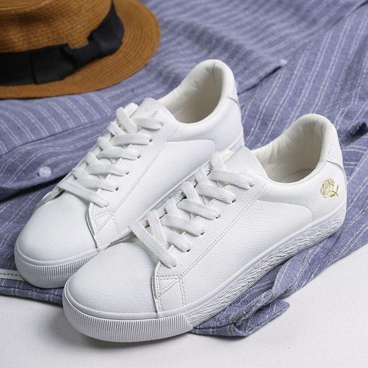 Cuerpo Adjunto archivo refugiados  GOGC Zapatos blancos Zapatillas de mujer Zapatillas planas Primavera Verano Cuero  Zapatillas blancas Mu… | White shoes women, White sneakers women,  Streetwear shoes