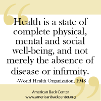 Health as defined by the World Health Org in 1948.