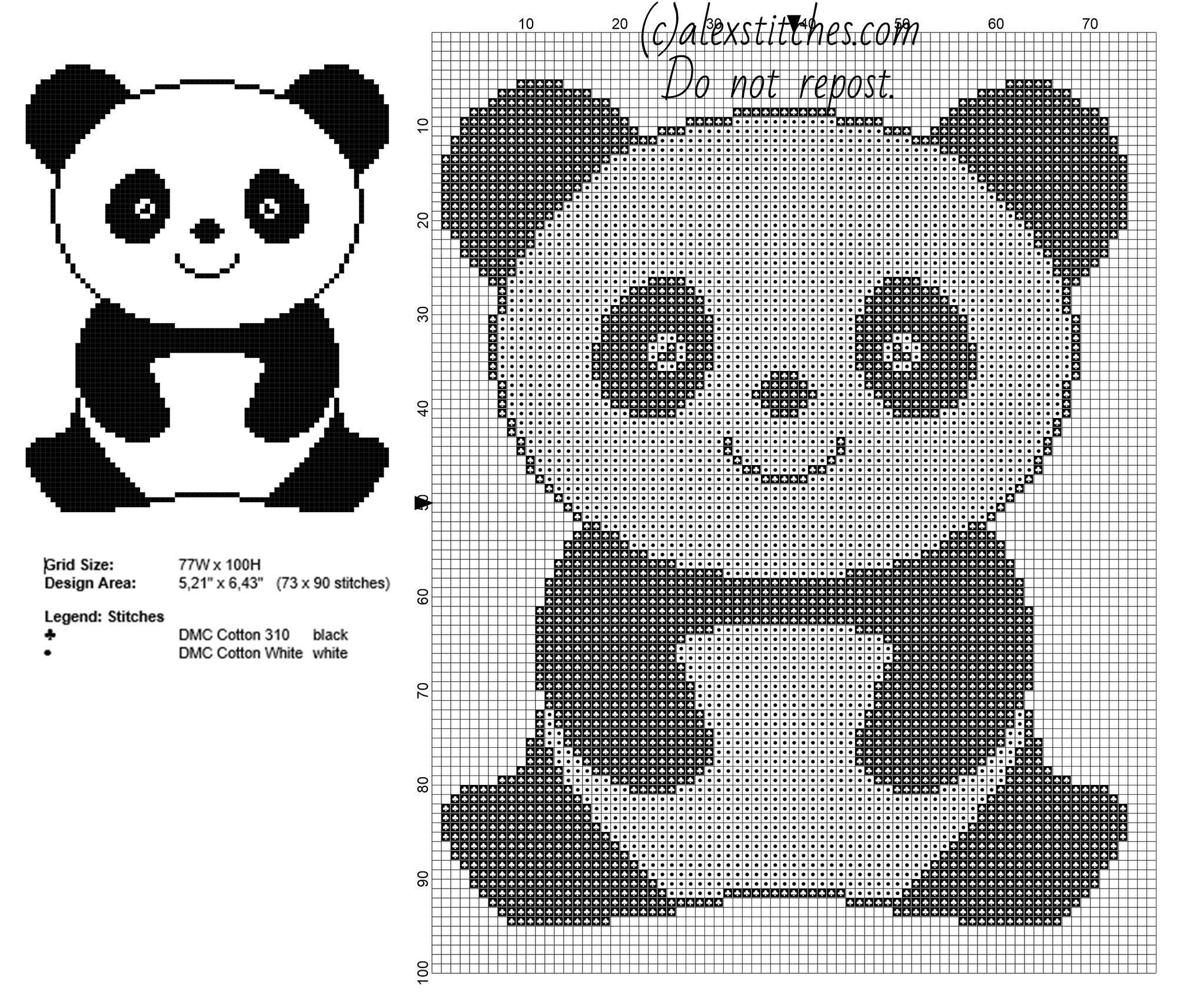 Cross template simple cross image craft ideas pinterest crosses - A Panda Animal For Babies Free Simple Cross Stitch Pattern 73 X 90 Stitches 2 Dmc