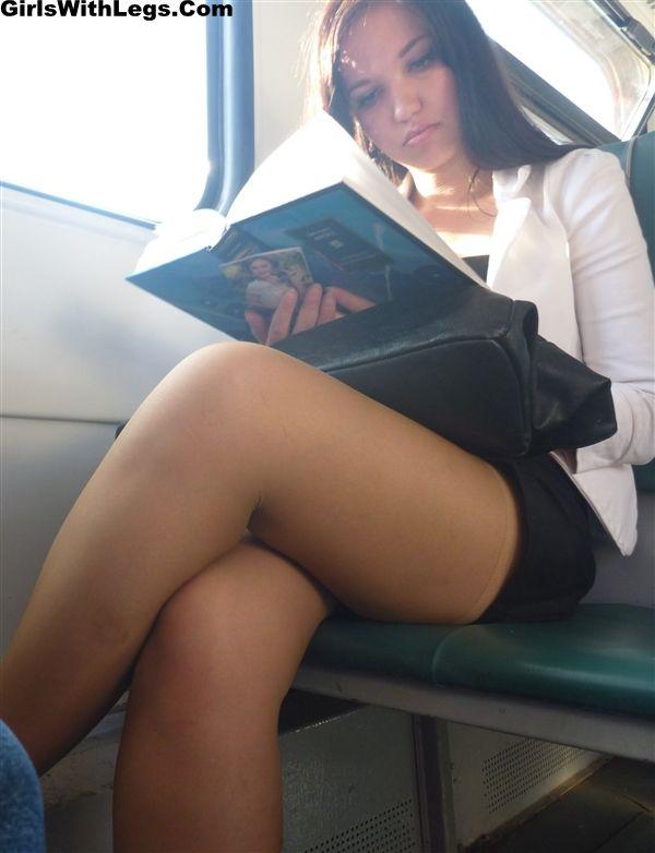 Short skirt nylons