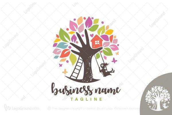 logo for sale children daycare tree logo