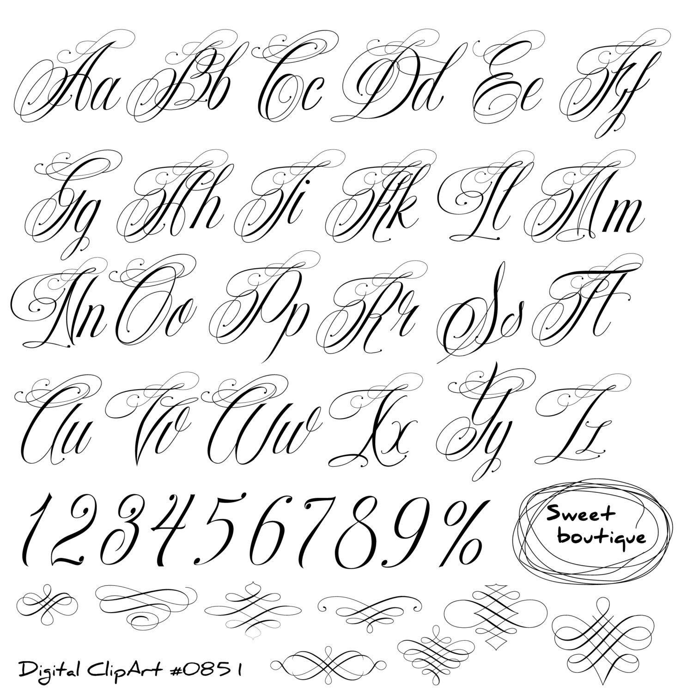 Handwritten Alphabet Calligraphy Alphabet Clip Art Calligraphy Clip Art Calligraphic Clipart Digital Alphabet Digital Calligraphy 0851 Tattoo Fonts Cursive Tattoo Lettering Fonts Tattoo Fonts Alphabet