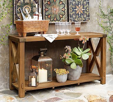 Benchwright Outdoor Console Table   Outdoor console table, Console ...