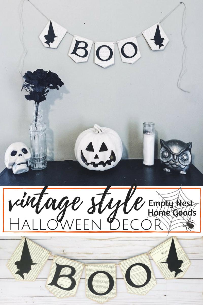 Halloween Banner • Gothic Hallowen Decor • Vintage Style Halloween ...