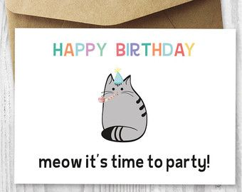 Free Printable Birthday Cards PRINTBIRTHDAY Happy Party Cat Card Digital
