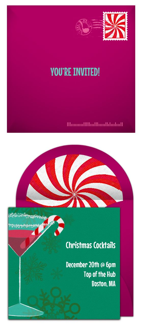 A Candy Cane Christmas Cocktail Party Christmas invitations - free xmas invitations