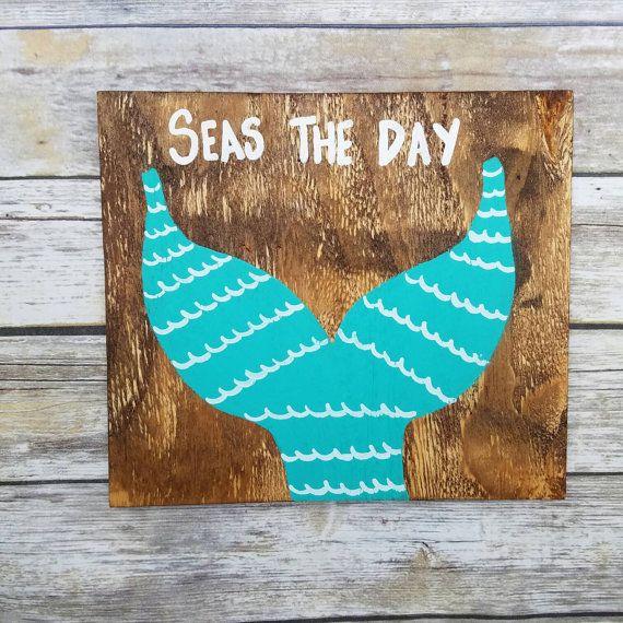 mermaid decor, mermaid sign, Beach decor, Beach sign, Beach quote art, seas the day, mermaid quote, Hand painted wood sign, mermaid gift #mermaidsign