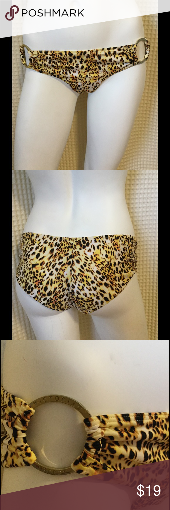 Victoria Secret bikini bottom size M Slightly cheeky super sexy animal print Victoria Secret bikini bottom with gold tone rings displaying Victoria Secret logo. Excellent condition. Size Medium but fits comfortably on my size 4/6 model (small) can be paired nicely with a sold black top. Offers always welcomed! Victoria's Secret Swim Bikinis