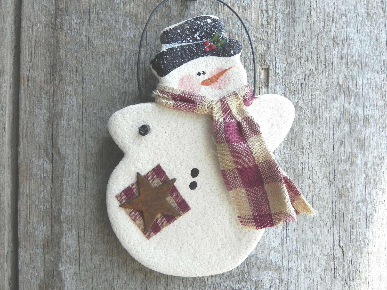 Salt Dough Ornament Salt Dough Christmas Ornaments Snowman Christmas Ornaments Christmas Crafts