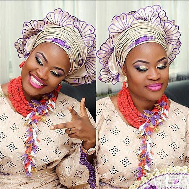Bridal face glam by @bloommakeovers #mua #beads #gele #inspiration