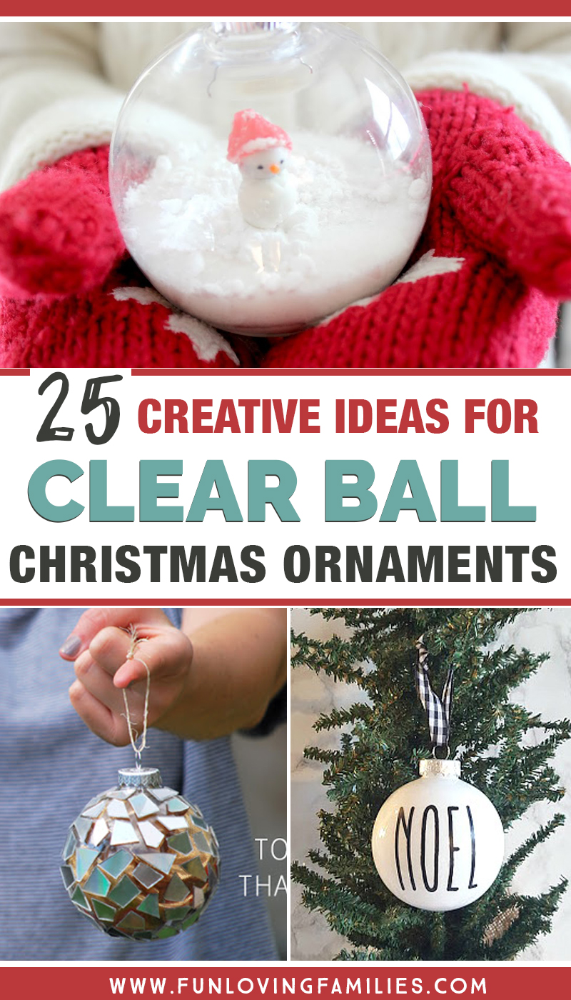 Ideas to get creative with clear Christmas ornament balls. Perfect for ornament decorating parties because these DIY Christmas ornaments are cheap and easy to make, and lots of fun! #christmasornaments #diy #handmadechristmas