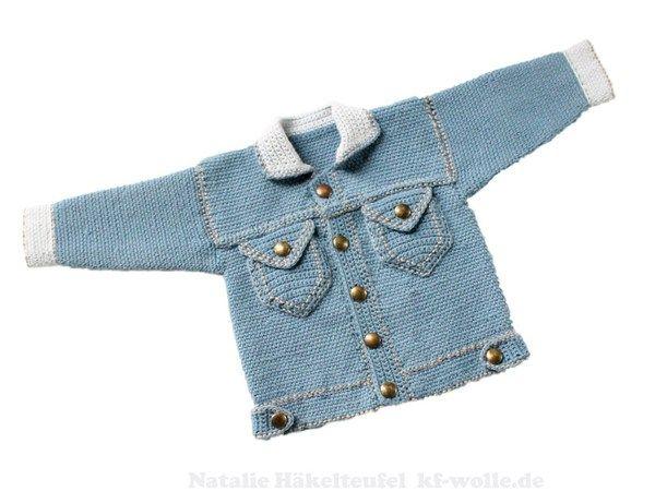 "PDF-Häkelanleitung: Baby & Kinderjacke ""Jeans"", Gr. 50-104"