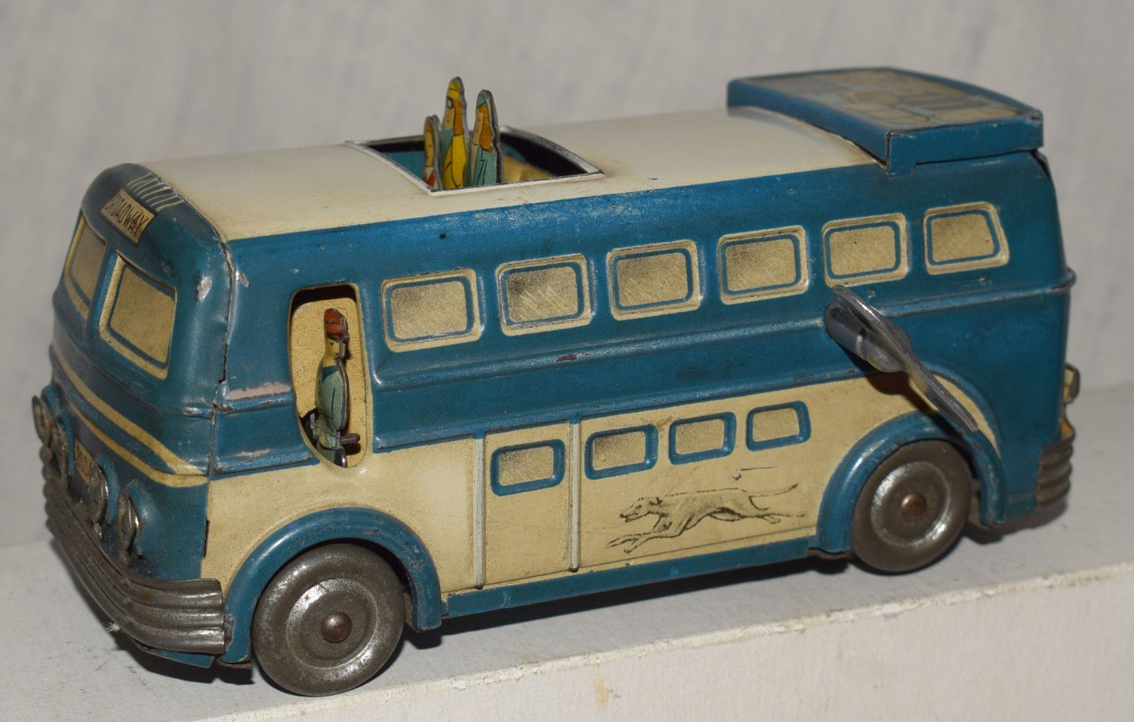 Toys car keys  Rare Vintage Brevete France Tin Windup Greyhound Bus  Working with