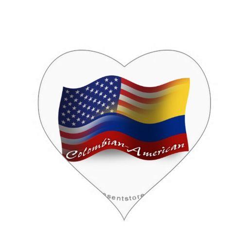 Colombian american waving flag heart sticker zazzle