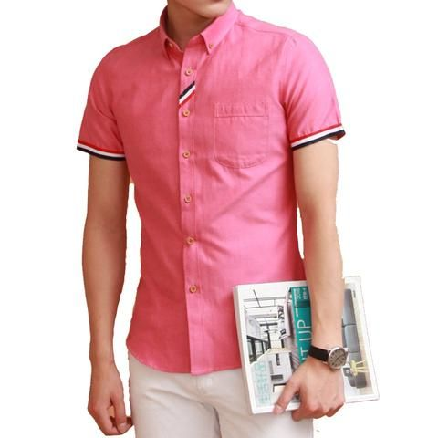94f2bd53661 Summer Casual Men s Short Sleeve Shirt 7 Color Shirt Male Thin Breathable Slim  Fit Fashion Brand Cotton Men Dress Shirt Size 4XL