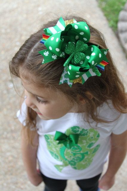Patrick Festive Headdress Clover Large Children Girl Bow Hair Clip Hair Band St