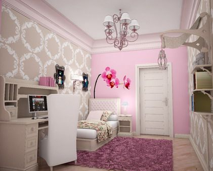 wallpaper teenage girls small bedroom interior paint decorating