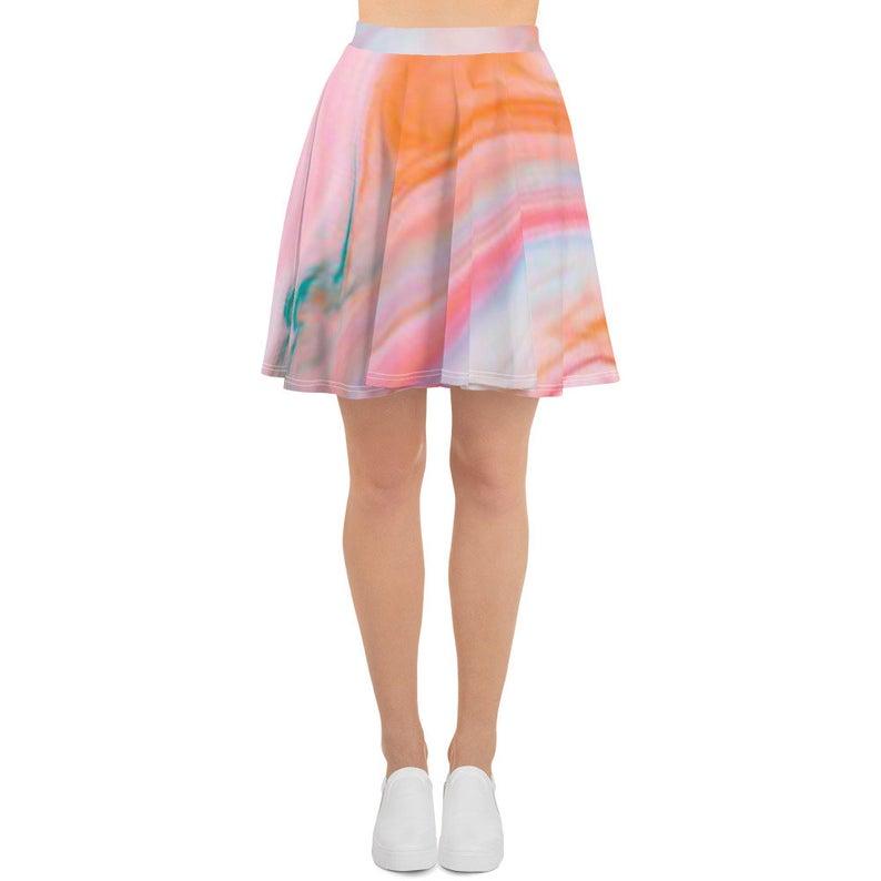 Rainbow Marble A-Line Skirt