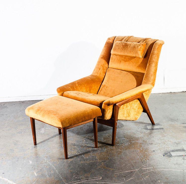 Mid Century Danish Modern Lounge Chair Solid Teak Dux Folke