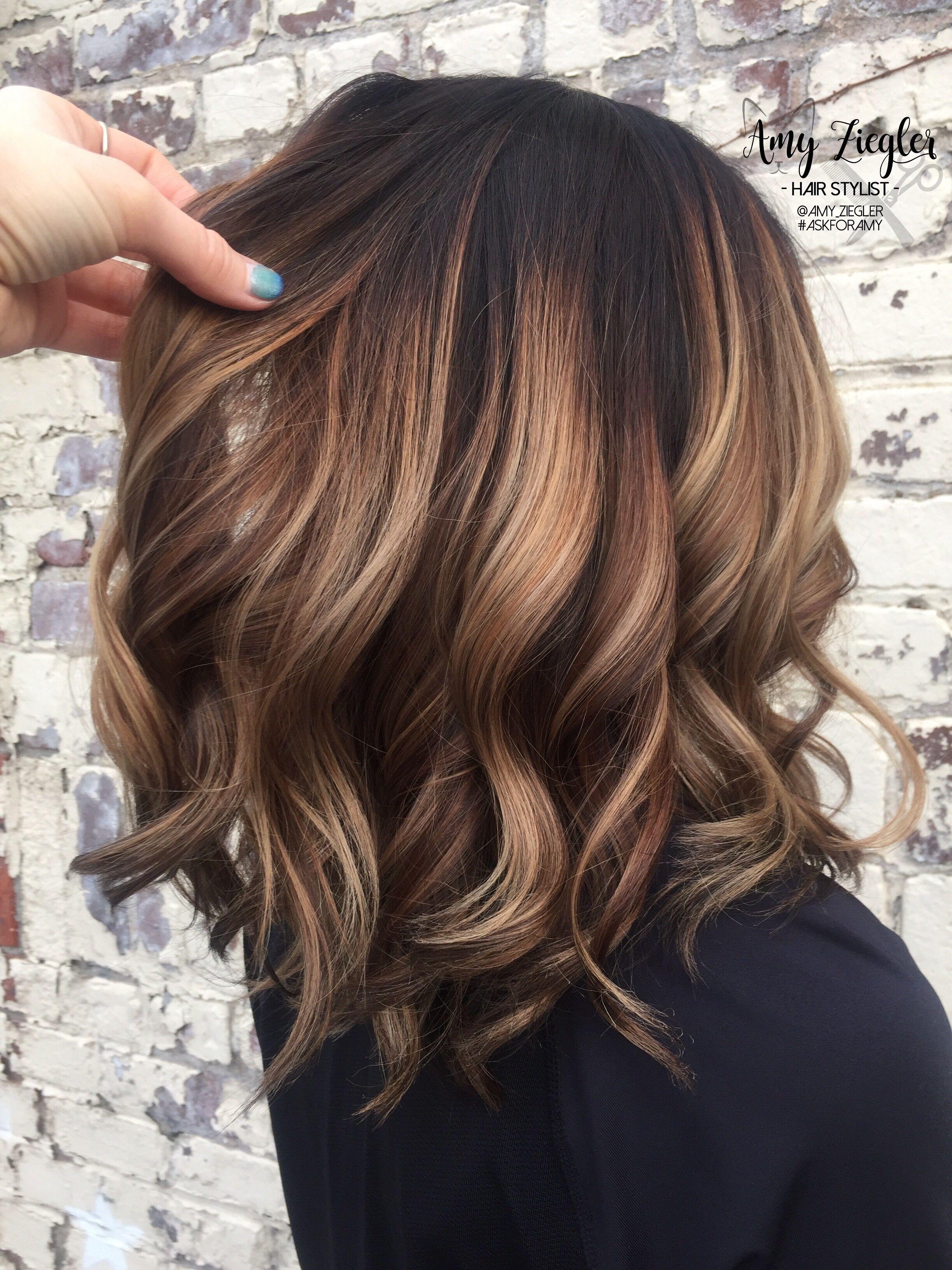 Chunky Blonde Balayage On Dark Hair By Askforamy Askforamy Versatilestrands Hair Styles Brown Hair Balayage Medium Hair Styles
