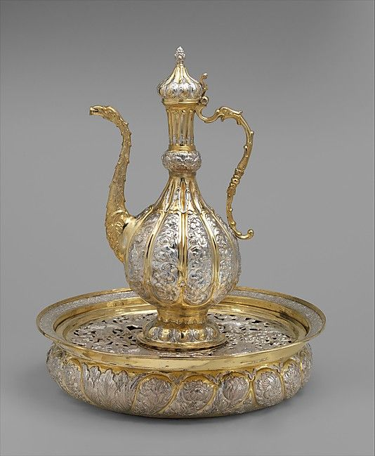 """Ewer and basin, British """"after a Moldovan original,"""" Elkington  Co., silver and partly gilt, 19th c. (Met Collection)"""