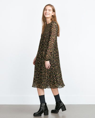9366185a6365 Image 1 of MID-LENGTH PRINTED DRESS from Zara | Style and Trends ...