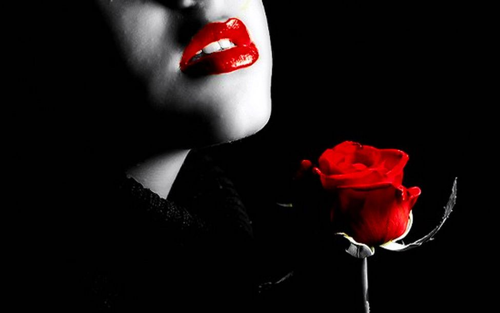 Today Red Lips Black Backgrounds Black And Red