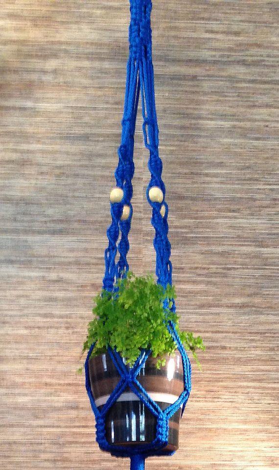 Macrame plant hanger - large, royal blue