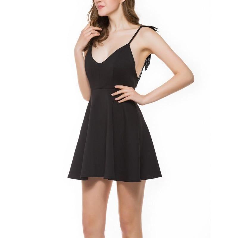 a36cd703ef8 Summer Lace Casual Slim Backless Beach Dress Women Spaghetti Strap  Knee-length  fashion