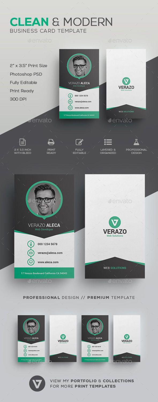 Clean Modern Business Card Template | Pinterest | Tarjetas de ...